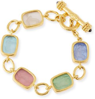 Elizabeth Locke Antique Animals Intaglio 19k Gold Toggle Bracelet, Pastel