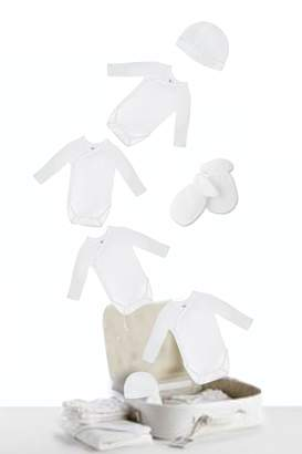 Petit Bateau Baby Gift Set White Unisex Baby Bodysuits - Hat - Gloves