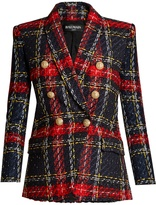 Balmain Double-breasted checked-tweed blazer