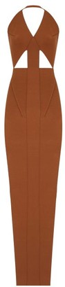Rick Owens Ixta Halterneck Stretch-knit Jersey Maxi Dress - Womens - Brown