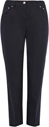 Wallis PETITE Navy Stretch Cropped Trouser