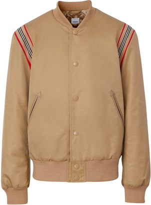 Burberry Harwell Icon Stripe Leather Trim Twill Bomber Jacket