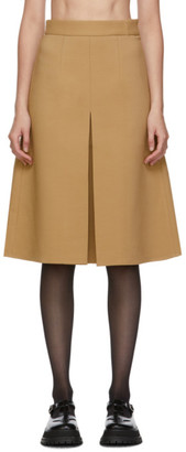 SHUSHU/TONG Tan Single Pleat Skirt