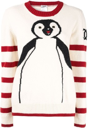 Chanel Pre Owned CC logo penguin knit sweater