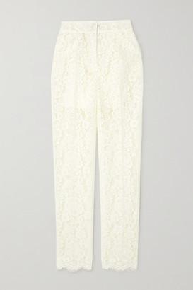 Dolce & Gabbana Cotton-blend Corded Lace Slim-leg Pants - White