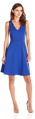 Lark & Ro Amazon Brand Women's Sleeveless Scalloped Ponte Fit and Flare Dress