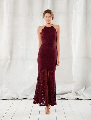 Forever New Gracie Lace Halter Gown - Red Shiraz - 4
