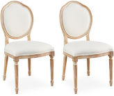 Sarreid Ltd. Off-White Linen Louis Side Chairs, Pair