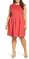 Vince Camuto Plus Size Women's Pleat Fit & Flare Dress