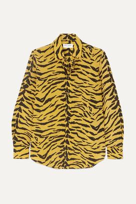 Saint Laurent Zebra-print Silk-crepe Shirt - Yellow