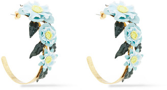 Elizabeth Cole 24-karat Gold-plated, Enamel And Resin Hoop Earrings