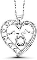"""Ice Sterling Silver """"Mom"""" Heart Pendant Necklace with Diamond Accents by JewelonFire"""