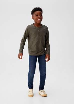 MANGO Buttons organic cotton t-shirt dark navy - 5 - Kids