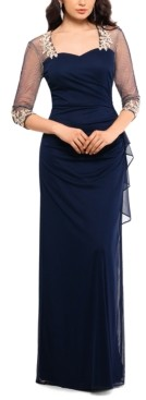 Xscape Evenings Illusion-Sleeve Gown