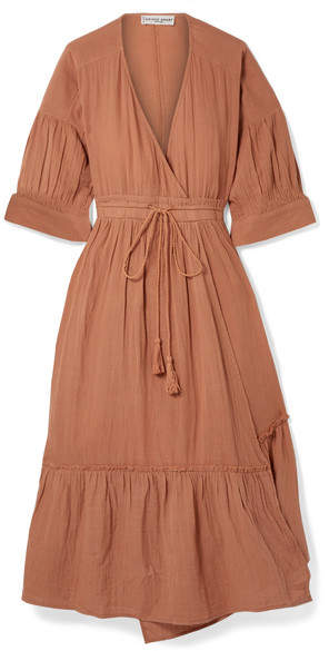 Apiece Apart Anichka Wrap-effect Cotton-gauze Midi Dress - Tan