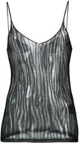 Saint Laurent knitted transparent tank top - women - Viscose - S