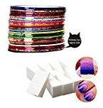 S C Products S&C 34PCS Colors Nail Art Rolls Stripe Tape Decoration Sticker&8PSC Soft Sponge