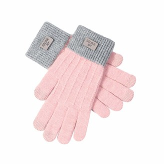 TIFIY Women Cute Touchscreen Gloves Winter Warm Comfy Soft Running Gloves Fashion Solid Color Thick Knitted Gloves for Ladies (Free Size