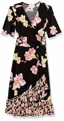 Donna Morgan Women's Short Sleeve Knit Jersey Faux Wrap with Ruffle Hem Twin Print Dress