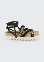 Stella McCartney Logo-Web Ankle-Wrap Sandals
