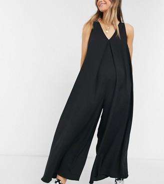ASOS DESIGN maternity V neck minimal smock jumpsuit in black