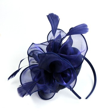 Fancyland Sinamay Rose Flower Feather Hat Fascinator Races Hair Bridal Accessories Wedding Cocktail Navy Blue