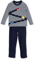 Florence Eiseman Stripe Knit Car T-Shirt w/ French Terry Pants, Size 2-4