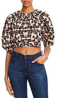 Rebecca Taylor Kaleidoscope Leopard Print Cropped Top