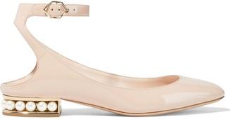 Nicholas Kirkwood Lola Faux Pearl-embellished Patent-leather Ballet Flats
