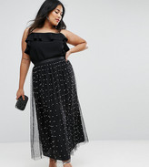 Asos Embellished Pearl Tulle Midaxi Skirt