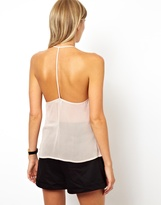 Asos Cami With Strappy Back And Floral Applique Bib