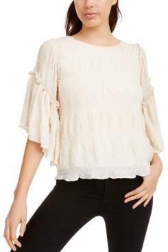 Line & Dot Chiffon Flutter-Sleeve Top
