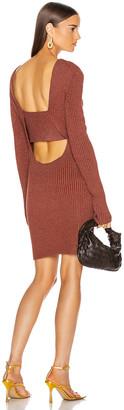 Bottega Veneta Rib Long Sleeve Dress in Rust | FWRD
