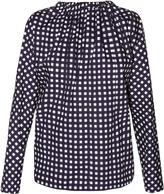 Marni Tie-back checked coated cotton-poplin blouse