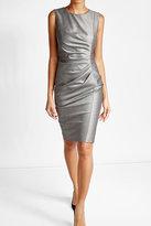 Max Mara Draped Virgin Wool Dress with Silk