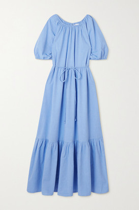 Apiece Apart Simone Belted Tiered Organic Cotton Midi Dress - Light blue
