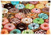 Pillowcase 2421 Pillowcase Pillow Cover Food Funny Creative Hipster Sweet Treats Donut Zippered Pillow Protector 20x30 inch (one side)