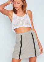 Missy Empire Magnolia Grey Suede Weave Detail Mini Skirt