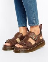 Dr. Martens Hayden Grunge Tan Leather T-Bar Flat Sandals