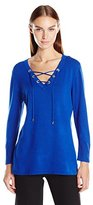 Calvin Klein Women's Fine Guage Lace up Sweater