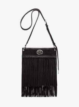 Michael Kors Monogramme Fringed Suede Messenger Bag