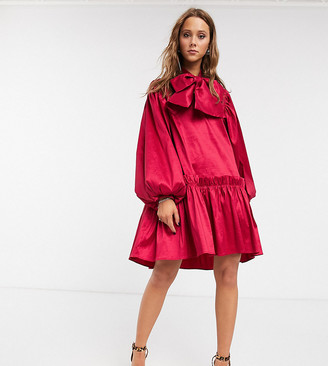 Sister Jane oversized mini smock dress with volume sleeves and bow in luxe satin-Pink