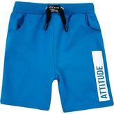 River Island Mini boys blue attitude swim trunks