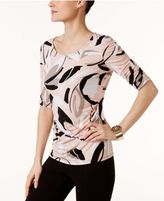 Alfani Petite Printed Ruched-Sleeve Top, Only at Macy's