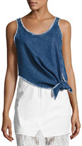 McQ by Alexander McQueen Sleeveless Knotted Denim Boxy Top, Blue