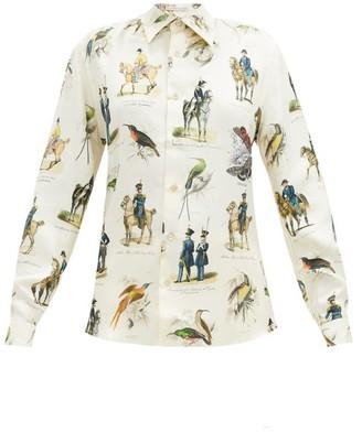 Alister Mackie - Military-print Silk-twill Shirt - Ivory Multi
