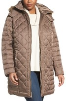 Kenneth Cole New York Plus Size Women's Faux Fur Trim Hooded Down & Feather Fill Coat