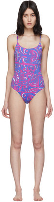 Emilio Pucci Blue and Purple Tiki Print One-Piece Swimsuit