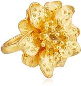 Kenneth Jay Lane Satin Gold-Tone Flower Ring, Size 7