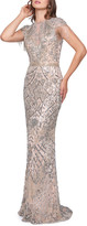 Mac Duggal Fringed Cap-Sleeve Column Gown